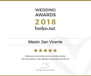Mesón San Vicente se hace con el Wedding Awards 2018 en la categoría Banquete